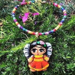 Frida Kahlo Clay Handpainted Medallion Necklace